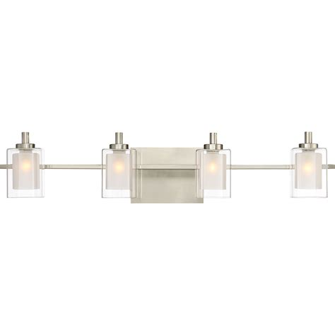 bathroom light fixtures led quoizel klt8604bnled kolt contemporary brushed nickel led