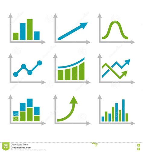 graph and diagram icon set stock vector illustration of color graph chart icons set vector stock vector image