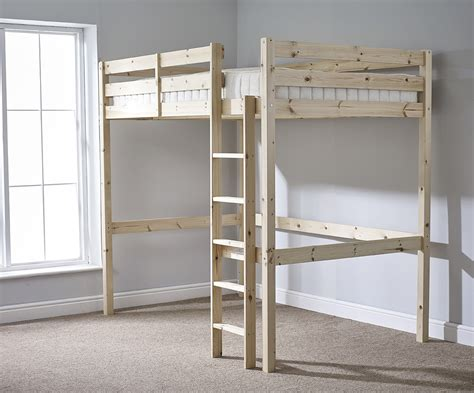 high sleeper with double futon icarus 4ft small double heavy duty solid pine high sleeper