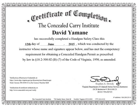 Skirting The North Carolina Concealed Carry Permit Course Training Requirements Via The Ccw Certificate Templates