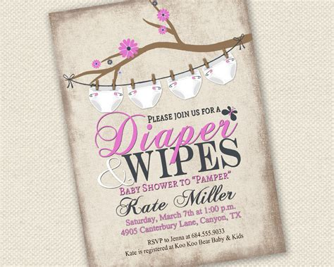 diapers and wipes baby shower baby shower invitation and wipes baby shower