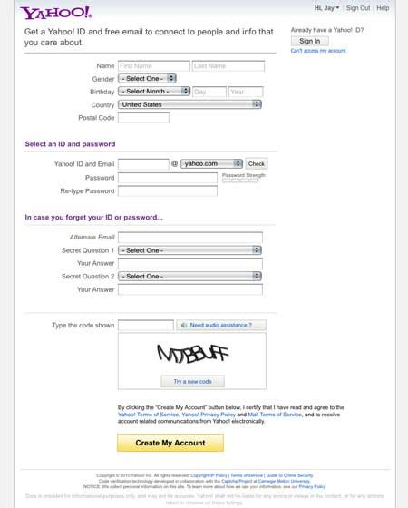 exle of yahoo id sign up form design best practices design review
