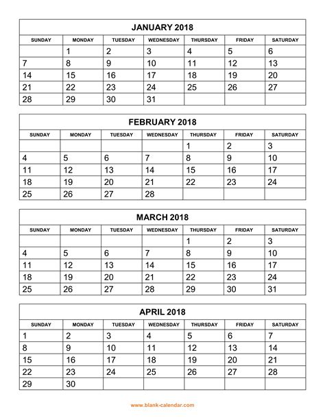 calendar template 4 months per page free printable calendar 2018 4 months per page