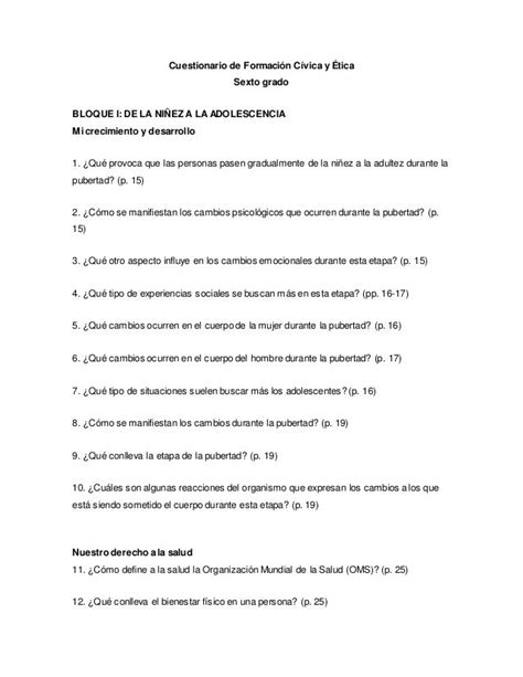 preguntas de historia sexto grado bloque 1 cuestionario de formaci 243 n c 237 vica y 201 tica sexto grado