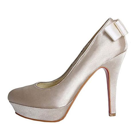 5 inches high heels fabulous satin 4 5 inches high heel platform bow bridal shoes