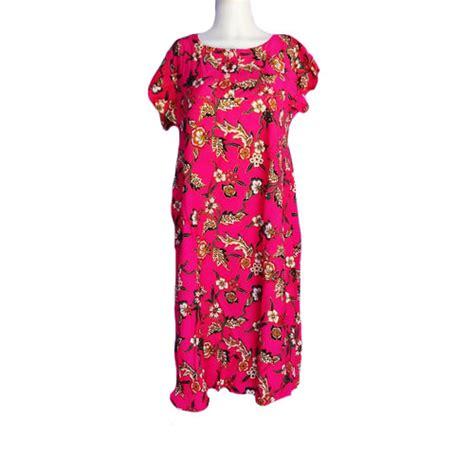 Daster Lengan Pendek Grosir Dasterbatik Murah Baju Tidur Batik Dropsip daster murah lengan pendek bunga yasmin warna pink toko