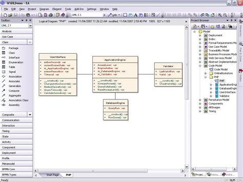 model php uml diagrams  code engineering  generation