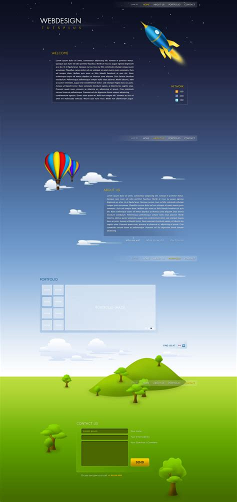 designing with photoshop create an illustrative single page web design with photoshop