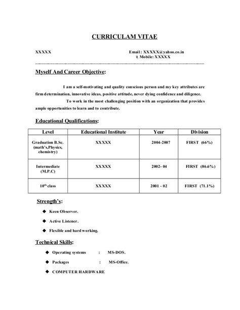 Sle Resume Objective For Computer Science Graduate by Sle Resume For Freshers Engineers Pdf 28 Images