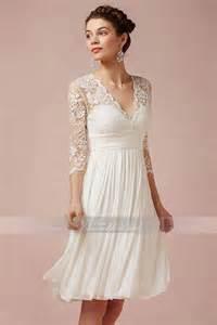 brautkleid mit ã rmel romantisch schlicht a linie knielanges extravaganter brautkleid mit v ausschnitt aus spitze