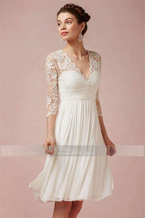 Hochzeitskleid Kurz Spitze by A Linie Knielanges Extravaganter Brautkleid Mit V