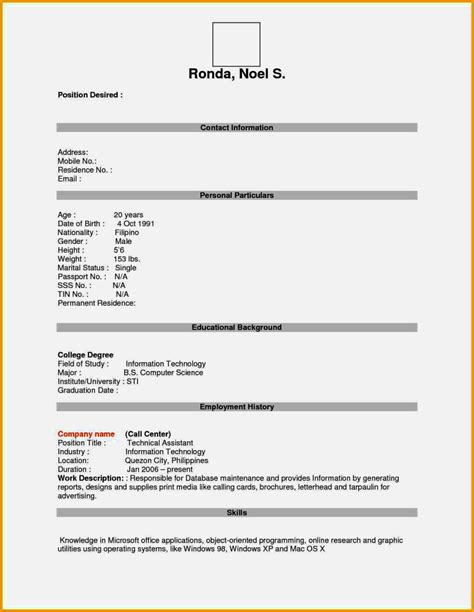 Pdf Resume Template by Empty Resume Format Pdf Resume Template Cover Letter