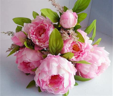artificial peony faux silk flowers wedding party christmas bouquet flower wedding picture more detailed picture