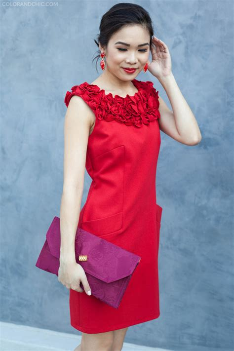 red rosette  red dress valentino lace color