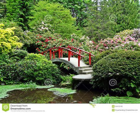 japanese garden bridge flower bushes stock photo