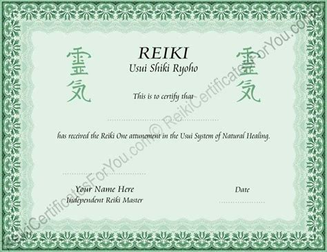 reiki certificates