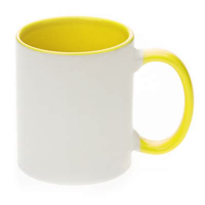 Mug Coating 081808029281 2 coated mug 11oz sublimationtwo tone mug inner and handle color yellow