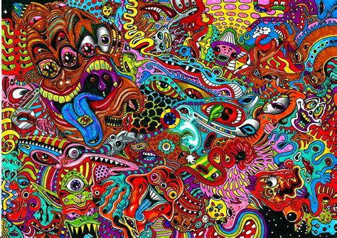 colorful trippy wallpaper psychedelic art color detail dark monsters wallpaper