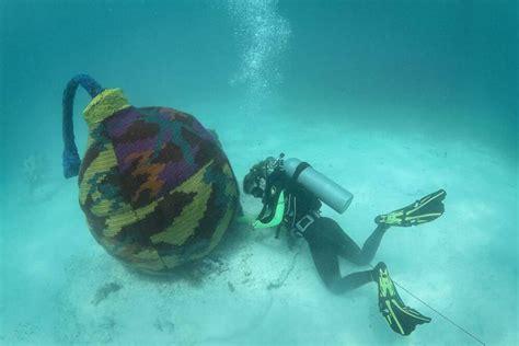 designboom underwater olek in the deep end for crocheting underwater sculpture