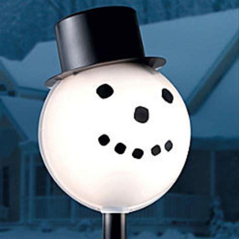 christmas light blackout caps snowman head christmas outdoor light lightpost lpost