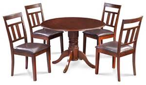 Burlington Dining Table 42 Quot Burlington Dining Table Set With Faux Leather Seats In Mahogany Traditional Dining Sets