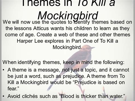 list of themes of to kill a mockingbird lessons activities and homework ppt video online download