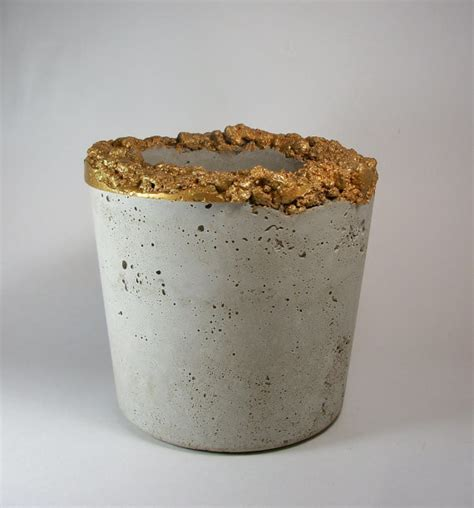 Gold Planters by Large Handmade Concrete Gold Planter By Dachshund In