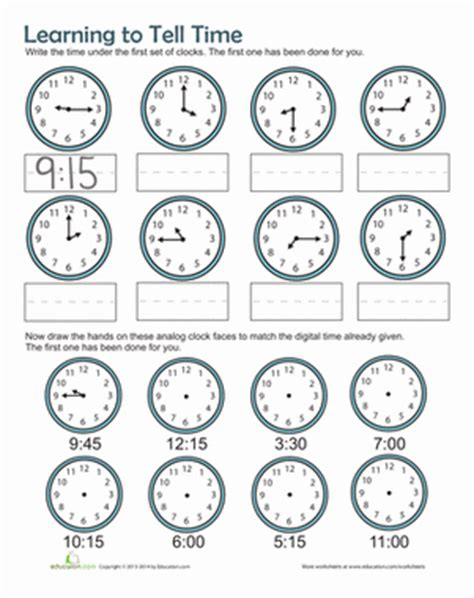 printable clock activities first grade time practice worksheet education com