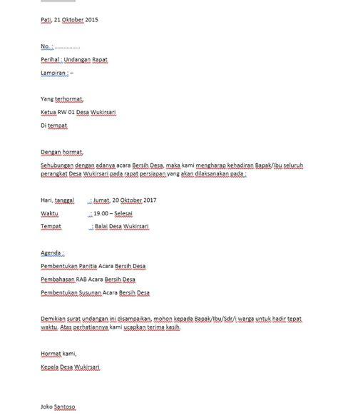 membuat surat undangan rapat contoh surat undangan rapat desa format docs