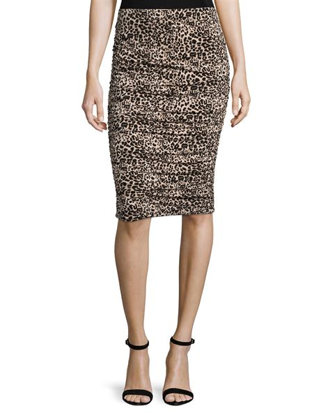 vince camuto leopard print pencil skirt lyst