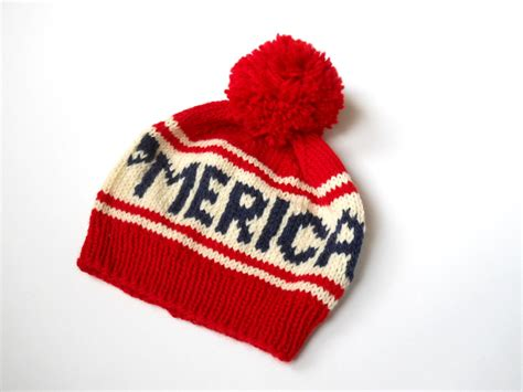 Lettering Beanie Hat the merica beanie white and blue pom pom beanie with