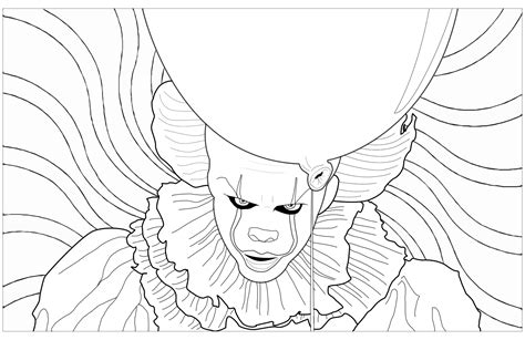coloring pages of background ca clown pennywise psychedelic background halloween