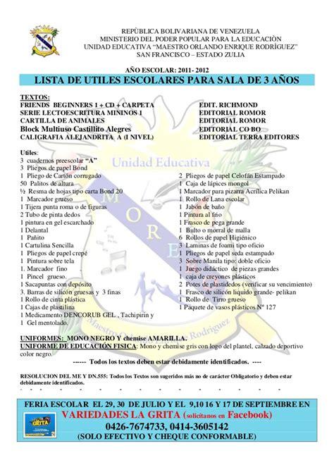 imagenes de utiles escolares para inicial lista de utiles escolares todos los grados 2011 2012