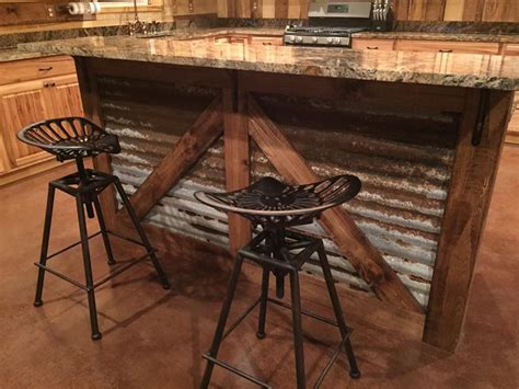 Rustic Stools For Kitchen by Rustic Kitchen Island Barn Style Island Tractor Seat Bar
