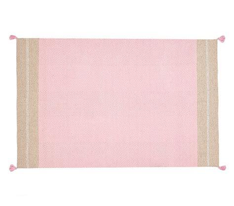 pink dhurrie rug metallic tassel dhurrie rug pink pottery barn
