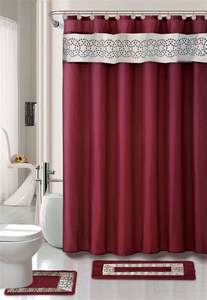 Shower Curtain Bathroom Set Home Dynamix Designer Bath Shower Curtain And Bath Rug Set Db15n 201 Nancy Burgundy Shower