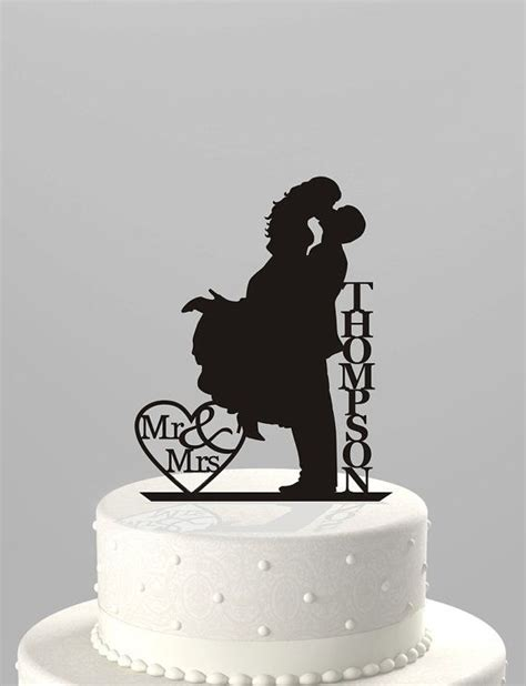 wedding cake topper silhouette mr mrs personalized with last name acrylic cake topper