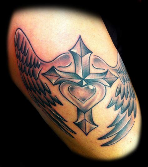 heart cross tattoo cross n wings design tattooshunt
