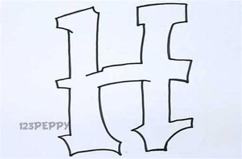 Letter H Drawing by Graffiti H Graffiti Sle