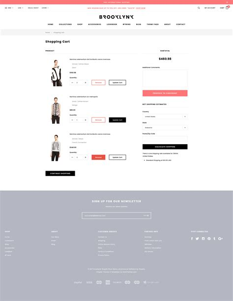 shopify templates responsive brooklynk responsive fashion shopify template sections