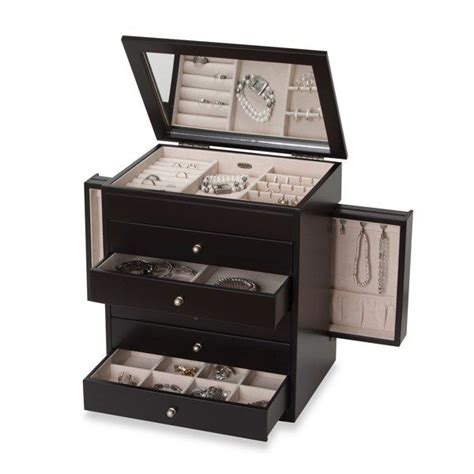 bed bath and beyond jewelry box mele co rowan wooden jewelry box in java finish