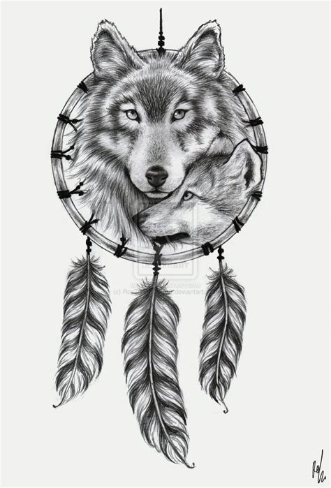 white wolf tattoo design dreamcatcher wolf design