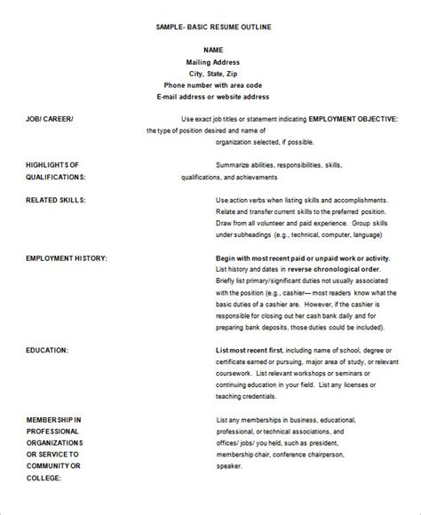 Professional Resume Outline by 12 Resume Outline Templates Sles Doc Pdf Free