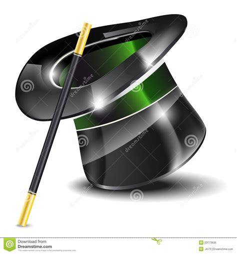 Magic Glossy White glossy magic hat and wand royalty free stock image image