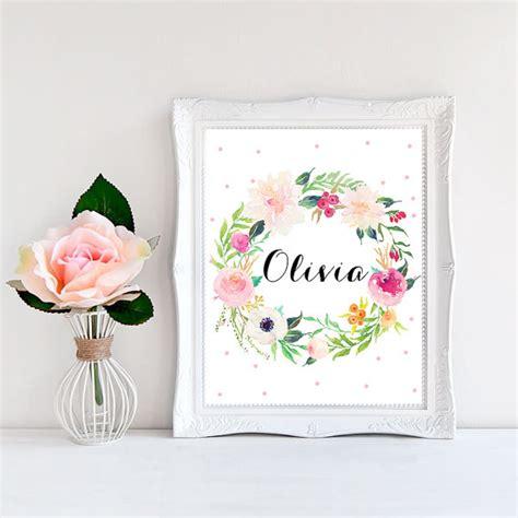 baby name decor for nursery nursery name print baby name print floral by