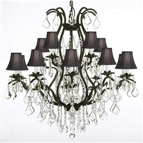 Versailles Collection Wrought Iron Chandelier Versailles 15 Light Black Wrought Iron And Crystal