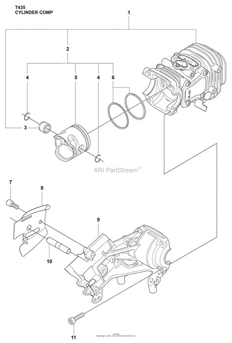 husqvarna 435 parts diagram husqvarna t 435 2009 02 parts diagram for cylinder