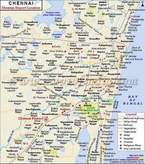 printable chennai road map chennai airport map airport map of chennai