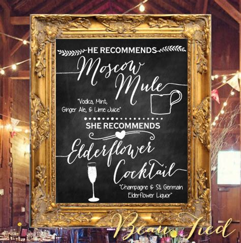 signature cocktails wedding chalkboard bar menu by