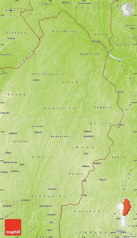 benin physical map physical map of borgou